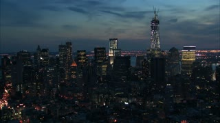 Nighttime Zoom In Freedom Tower Aerial