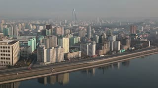 North Korea, Pyongyang, elevated view of the city from the Yanggakdo International Hotel looking across the Taedong river, North Korea, DPRK, Asia