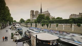 Notre Dame Cathedral a famous Landmark in the center of Paris, France, Europe, T/Lapse