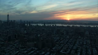 NYC Manhattan Skyline Sunrise Aerial