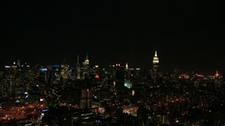 NYC Night Aerial Zoom Toward Empire State Building