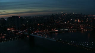 NYC Nightlife Bridge Aerial