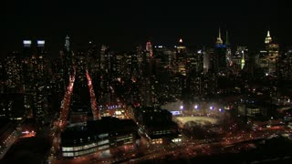 NYC Nighttime Cityscape Aerial