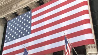 NYSE Biggest American Flag Zoom Out