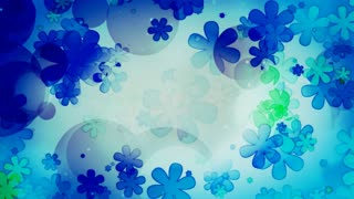 Ocean Colored Retro Flowers
