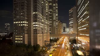 Office buildings in East Shinjuku, Financial Centre of Tokyo, Honshu, Japan, Asia, T/Lapse