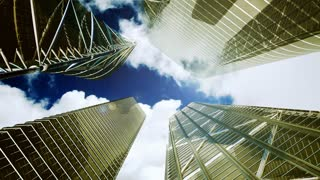 Office buildings,timelapse clouds and aircraft flying, gold tint