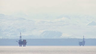 Oil Rigs on Cook Inlet in Alaska