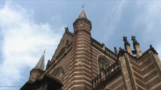 Old Brown Church In Brugge Timelapse