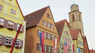 Old Buildings and Flags in Mespelbrunn, Germany