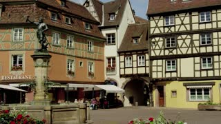 Old Buildings and Restaurant in Colmar, France