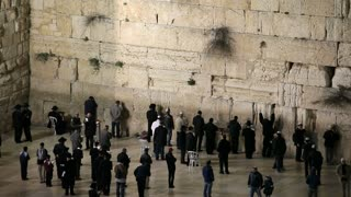 Old City, Jewish Quarter of the Western Wall Plaza, with people praying at the wailing wall,  Jerusalem, Israel,