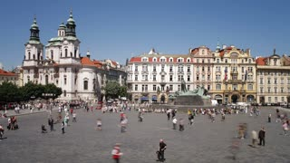 Old Town, Stare Mesto Square looking towards St Nicholas Church, Prague, Czech Republic, Europe, T/Lapse