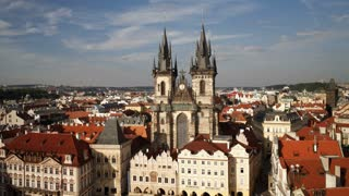 Old Town, Stare Mesto Square looking towards the Gothic Tyn Church, Prague, Czech Republic, Europe, T/Lapse