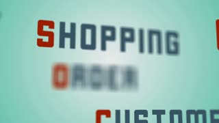 Online order shopping, paying by credit card, customer satisfaction, background animation concept. 4K Animation of seamless loop.