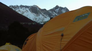 Orange Tent with Lhotse Mountain Looming