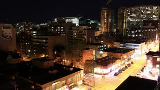 Ottawa Downtown Night Time Lapse. Ottawa, the capital of Canada, at night. Shot in time lapse of a view of Elgin Street.