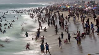Overcrowded Beach In California Timelapse