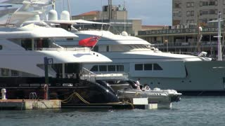 Pair of Yachts in Barcelona Harbor 2