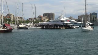 Pair of Yachts in Barcelona Harbor 4