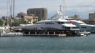 Pair of Yachts in Barcelona Harbor