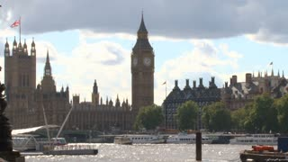 Palace Of Westminster Across River Thames