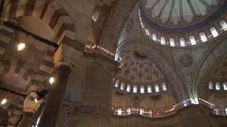 Pan Across Blue Mosque Ceilings