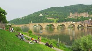 Pan Across Heidelberg River Neckar
