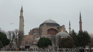 Pan Across Mosques in Turkish Square
