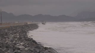 Pan Across Raging Waves During Alaskan Storm