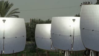 Pan Across Rows Of Solar Panels