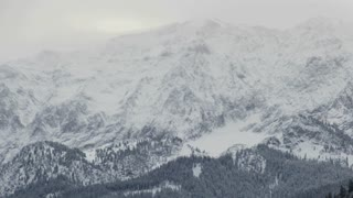 Pan Across Snowy Winter Mountains