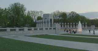 Pan Across World War II Memorial to Lincoln Memorial
