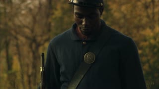 pan down African-American Civil War soldier uniform