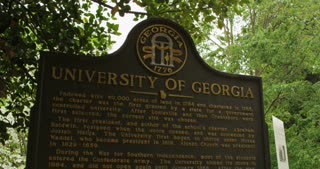 Pan from Historic Marker to Building at UGA