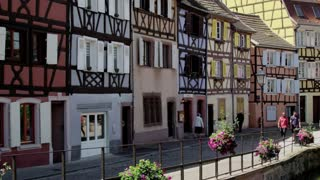 Pan From Old Houses Across Canal in Colmar Alsace France
