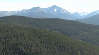 Pan Of Forest With Mountains In Background