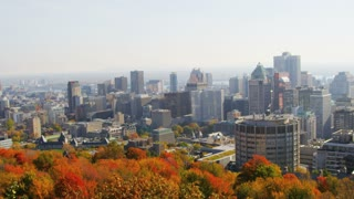 Pan of Montreal Skyline at Parc du Mont-Royal