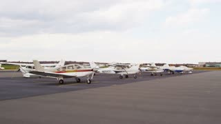 Pan of Parked Private Planes
