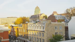 Pan of Rooftops in Quebec City