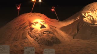 Pan of Sand Sculpture on Ocean City Beach