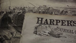 pan right across Harper's Weekly, Civil War era newspaper, front page