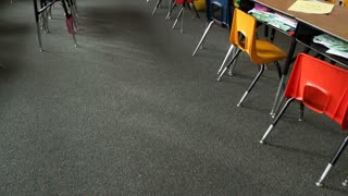 Tilt Up Of Empty Elementary School Classroom Stock Video Footage