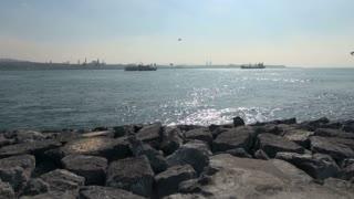 Panning Across Bosphorus From Rocky Shore