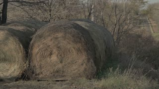 Panning Across Giant Bales of Hay