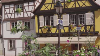 Panning Across Houses Near Canals in Colmar, France