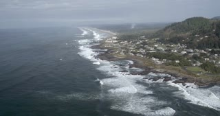 Panning Aerial Shot of a Pacific Coastal Suburb
