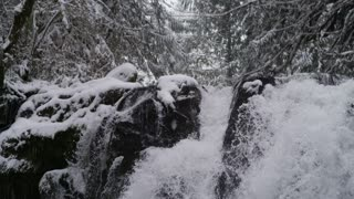 panning down a rushing waterfall in the dead of winter