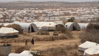Panning Shot Of Un Refugee Camp In Ethiopia