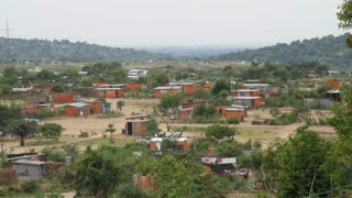 Panning Shot Of Village In Democratic Republic Of Congo